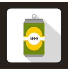 Green aluminum can icon flat style vector