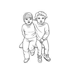 Two cute little girls vector