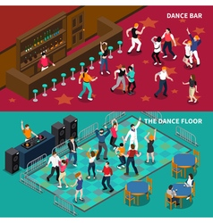 Bar dance floor 2 isometric banners vector