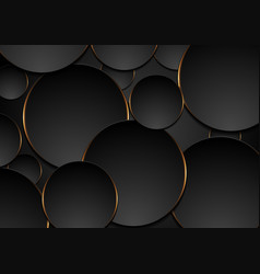 Black and orange circles abstract tech background vector