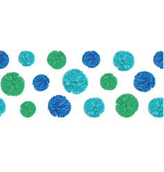 Blue birthday party paper pom poms set vector
