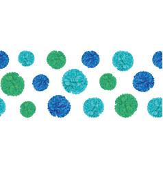 Blue birthday party paper pom poms set vector