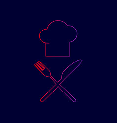 Chef with knife and fork sign line icon vector