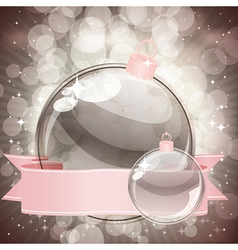 Christmas background with transparent balls vector image vector image