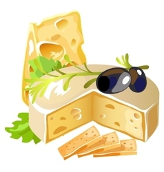 Delicious cheese with black olive and herbs vector