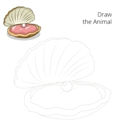 Draw the oyster educational game vector image