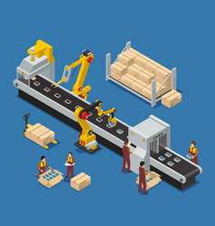 Electronics factory isometric composition vector