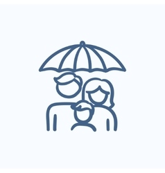 Family insurance sketch icon vector image vector image