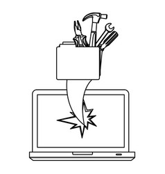 Figure computer file with tools and hole icon vector