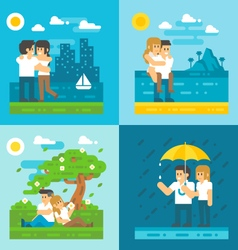 Flat design dating couple set vector image vector image