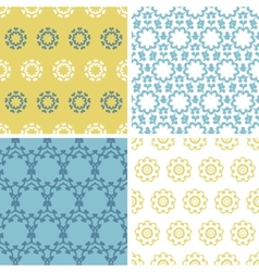 Four abstract yellow blue abstract florals vector image
