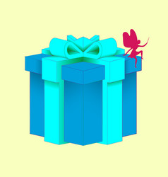 Gift with a beautiful decorative gift box blue vector
