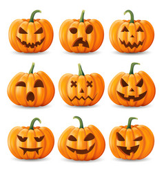 halloween background pumpkin set vector image