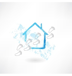 House and footsteps grunge icon vector image