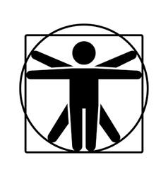 Leonardo da vinci vitruvian man sign logo stick vector