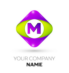 Letter m logo symbol in colorful rhombus vector