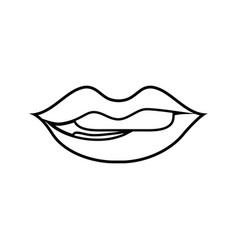 Line mouth with lipstick and bite inferior lip vector