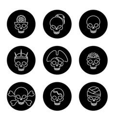 Linear skulls icons on black circles vector