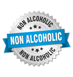 Non alcoholic round isolated silver badge vector