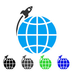 Planet satellite launch flat icon vector