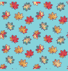 Seamless pattern with flat maple leaves vector