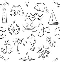 Seamless sketch marine pattern vector