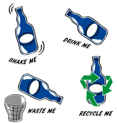 Set of bottle icons vector image vector image