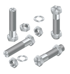 set of isometric steel screws bolts nuts and vector image