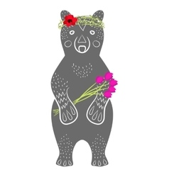 Standing grey bear cartoon animal with flowers vector