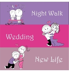 Three stages in the life of lovers background vector