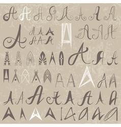 Vintage Set of 50 varied hand drawing letters A on vector image vector image