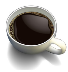 White porcelain cup of coffee with foam on a vector