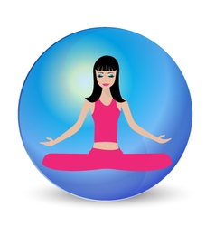 Yoga girl meditation logo vector