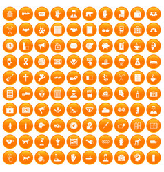 100 donation icons set orange vector