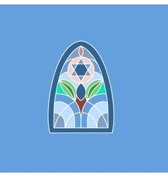 Colorful stained glass window jewish six-pointed vector