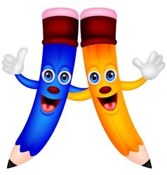 Happy pencil couple cartoon vector image