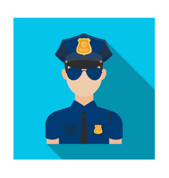 Police officer icon in flat style isolated on vector