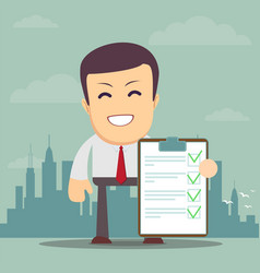 Man holding a approved document vector