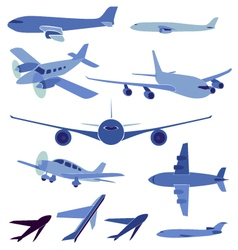 Set of simple symbols of aircrafts vector