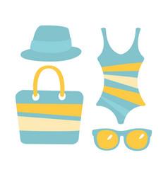 swimsuit glasses bag sandal women beach vector image