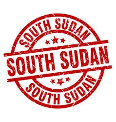 South sudan red round grunge stamp vector