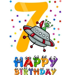 Seventh birthday cartoon design vector