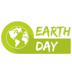 Earth day icon with green planet vector