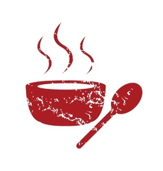 Red grunge soup logo vector