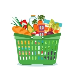 Shopping basket with food vector