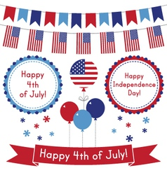 4th of July design elements set vector image vector image