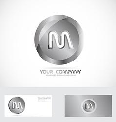 Leter m silver metal logo vector