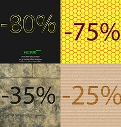 75 35 25 icon set of percent discount on abstract vector