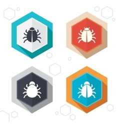 Bugs signs virus software error icons vector