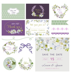 Wedding flower lily theme design elements vector